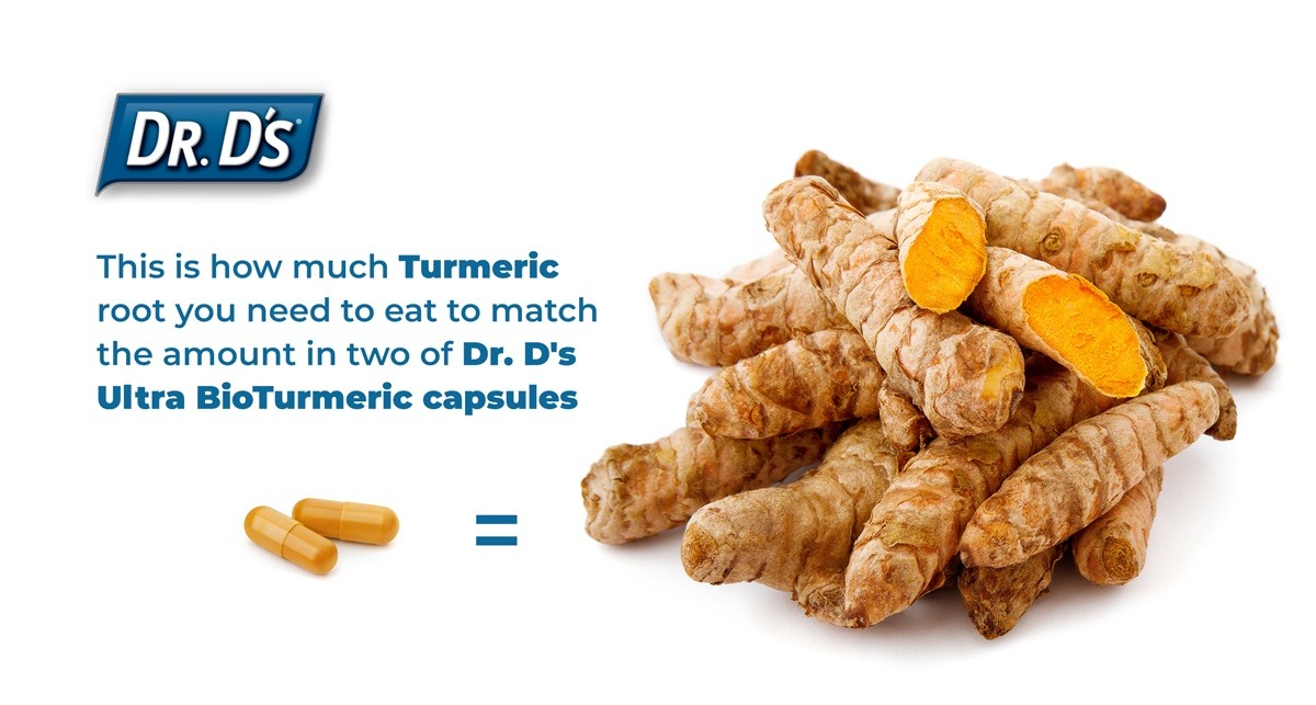 You would need to eat almost 2 cups of raw turmeric root to match the amount in two of Dr. D's Ultra BioTurmeric capsules