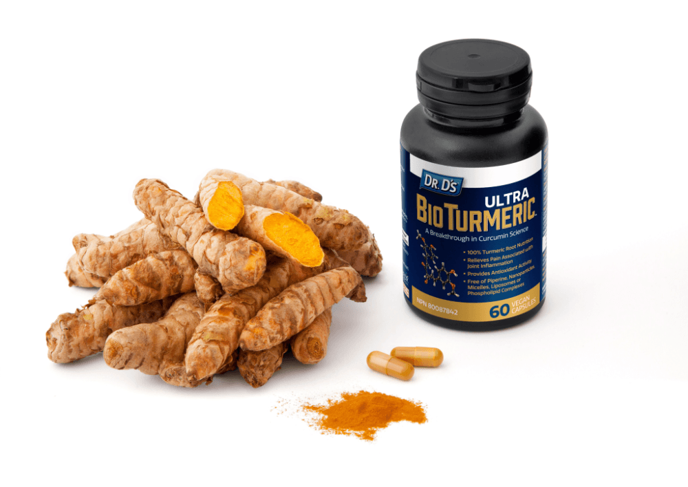 A bottle of Dr. D's Ultra BioTurmeric containing 60 capsules